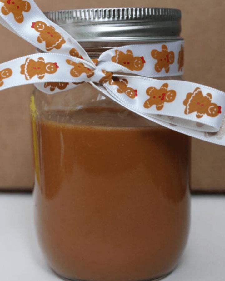 A jar of caramel sauce.