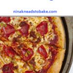An above shot of a homemade pizza.