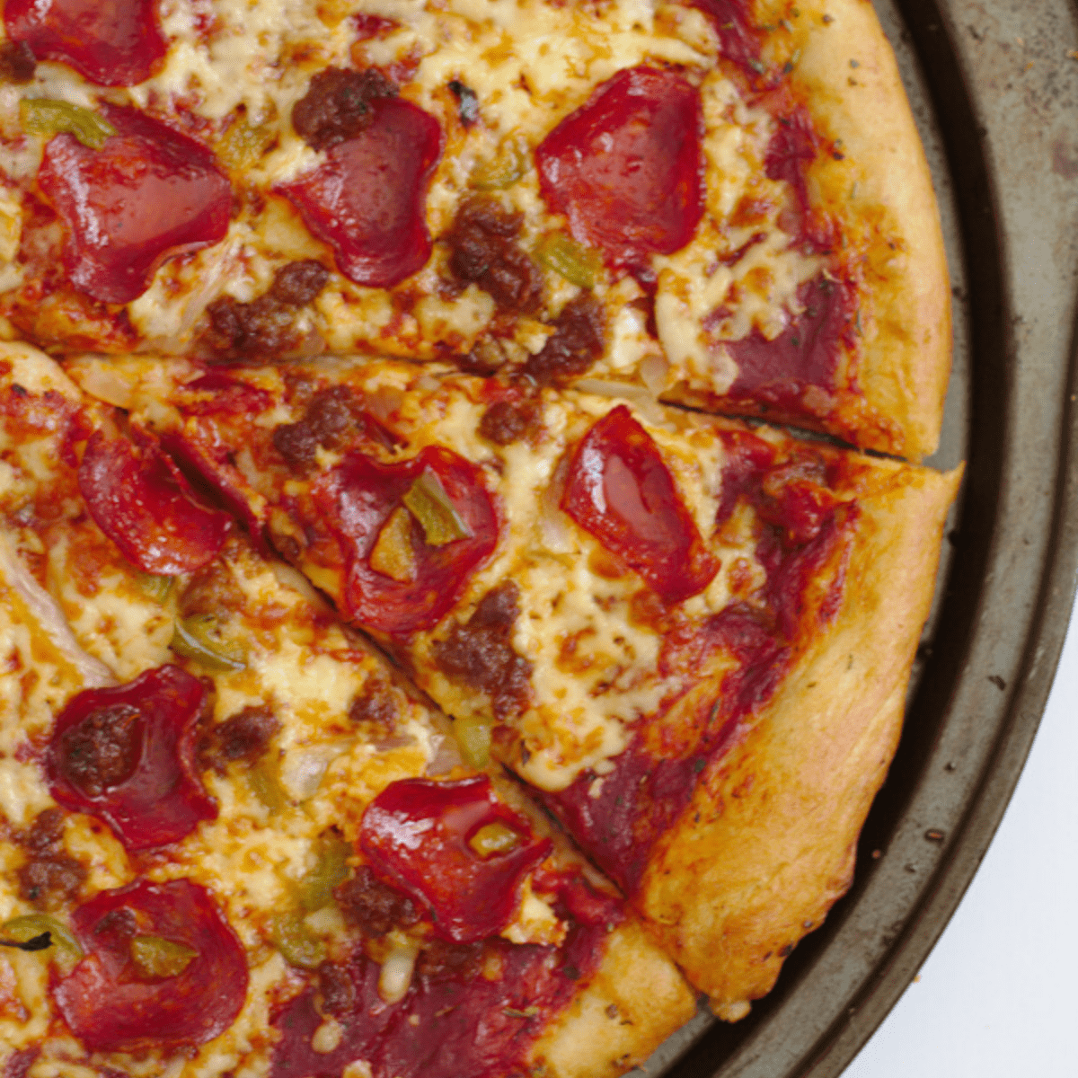An above view of a homemade pizza.